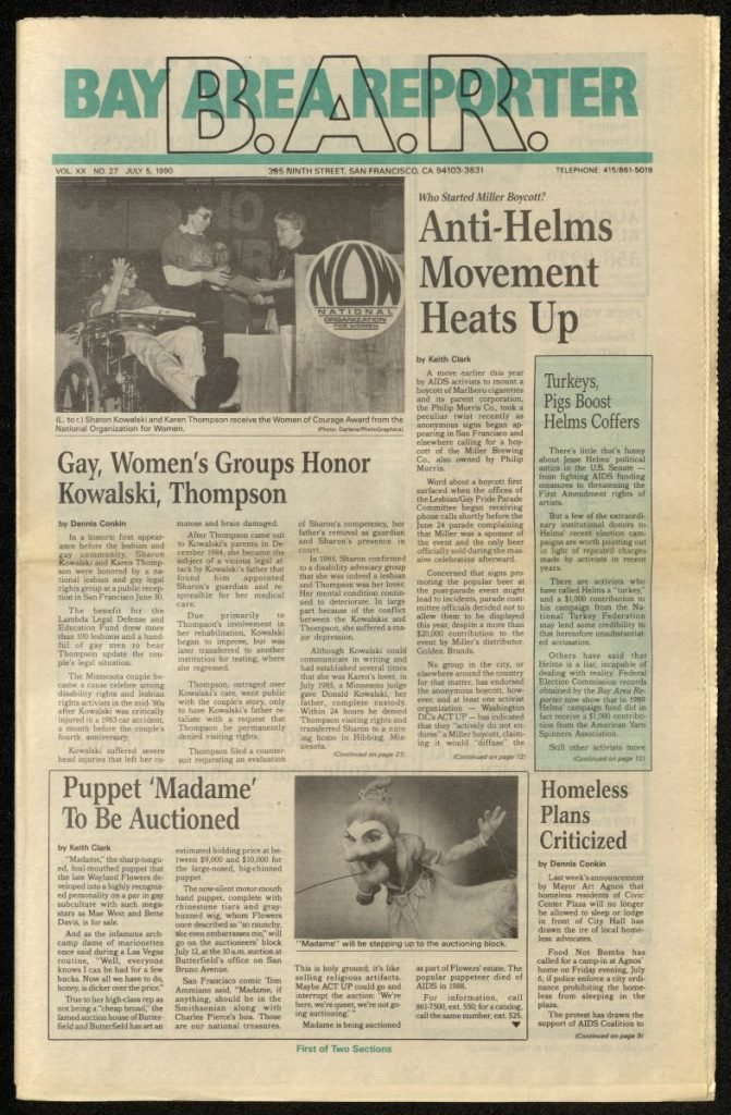 The cover of the Bay Area Reporter newspaper, 5th July 1990