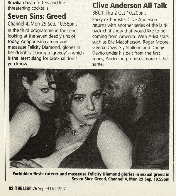 Preview of 'Greedy' on bisexuality from The List 1997