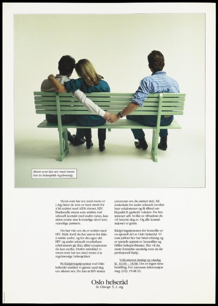A woman puts her arm around a man as they sit on one end of a bench as he puts arm out to hold hands with a man on the other side; a safe sex and AIDS prevention advertisement aimed at bisexual men by the Oslo Helseråd
