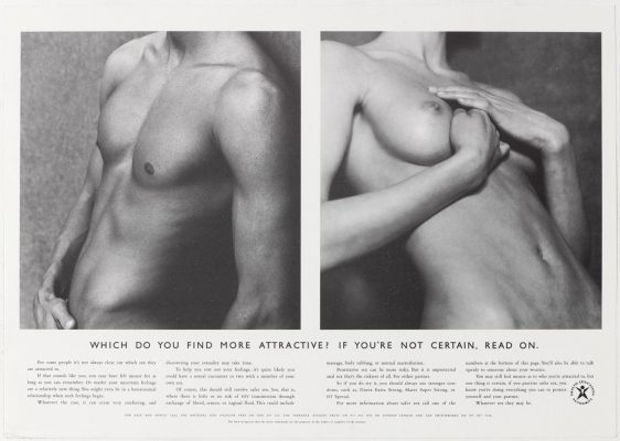 The HEA's 'torsos' ad, showing a male and female upper body, both topless